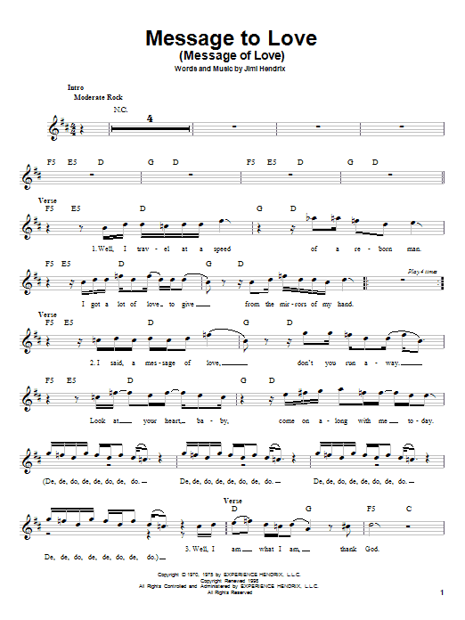 Jimi Hendrix Message To Love (Message Of Love) sheet music notes printable PDF score