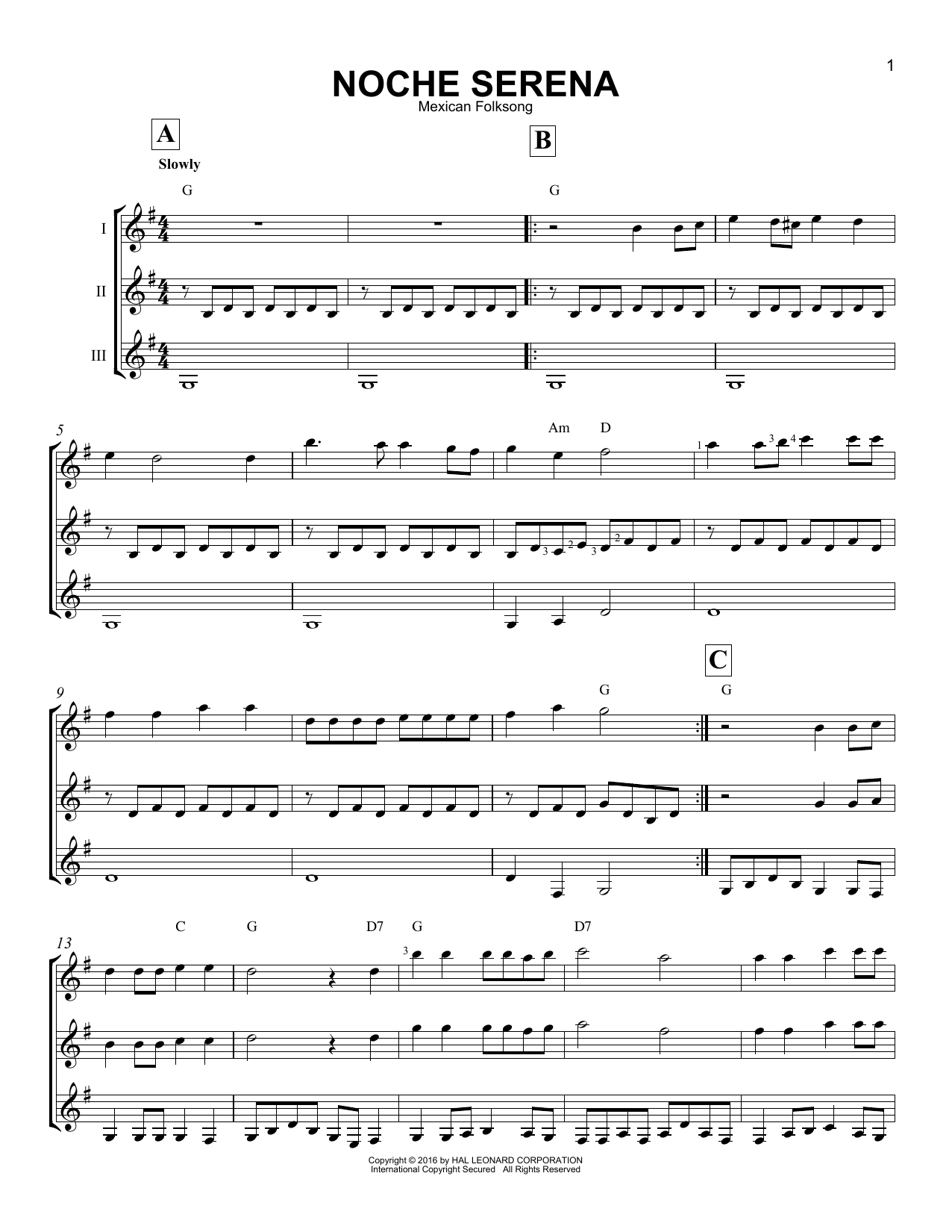 Mexican Folksong Noche Serena sheet music notes and chords. Download Printable PDF.