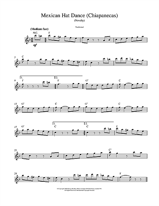 Traditional Mexican Hat Dance sheet music notes printable PDF score