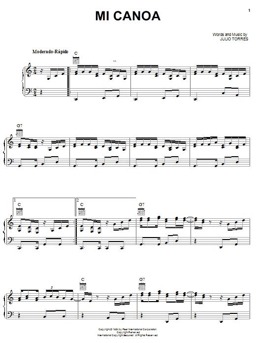 Julio Torres Mi Canoa sheet music notes printable PDF score