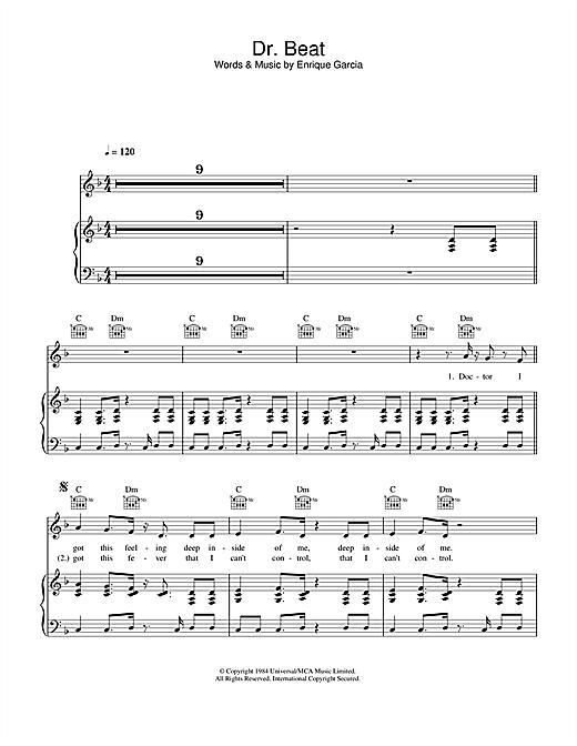 Miami Sound Machine Dr. Beat sheet music notes printable PDF score