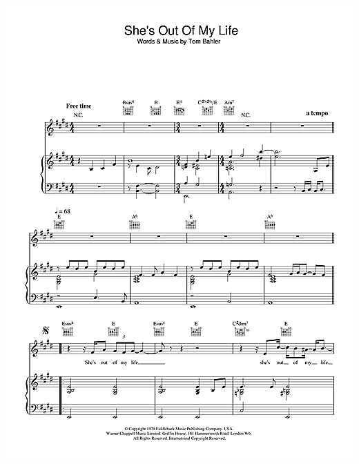 Michael Jackson She's Out Of My Life sheet music notes printable PDF score