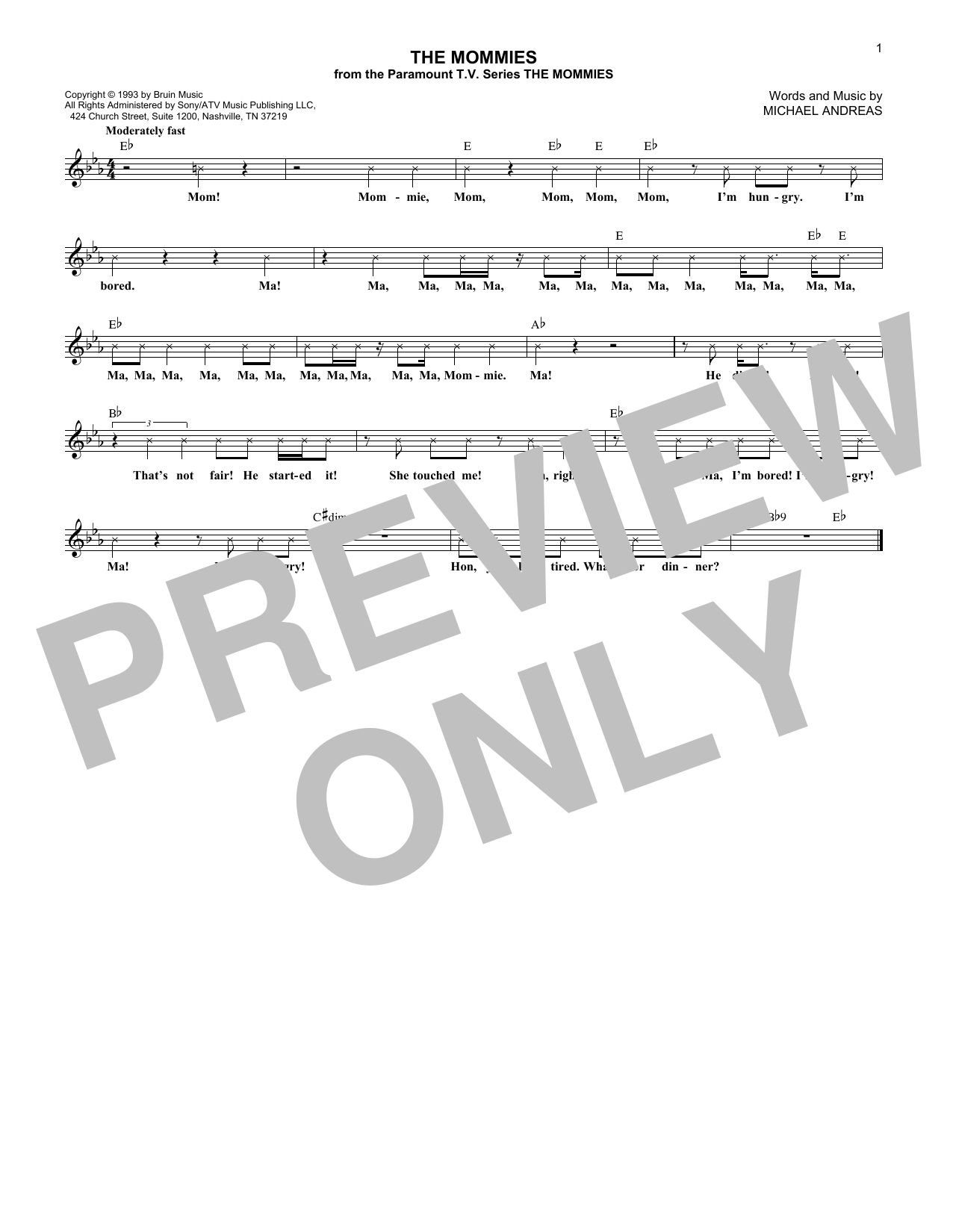Michael Andreas The Mommies sheet music notes and chords - download printable PDF.