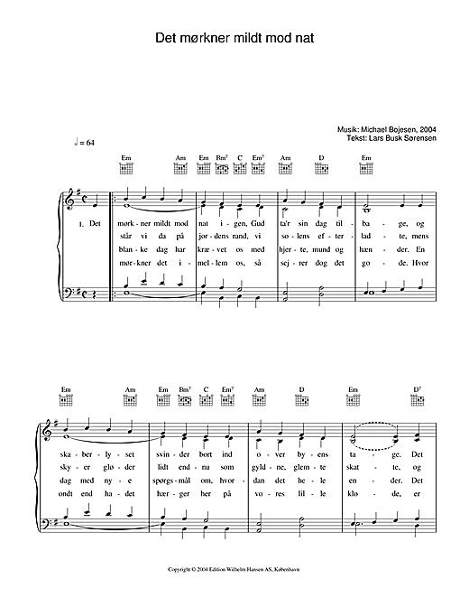 Michael Bojesen Det Mørkner Mildt Mod Nat sheet music notes printable PDF score
