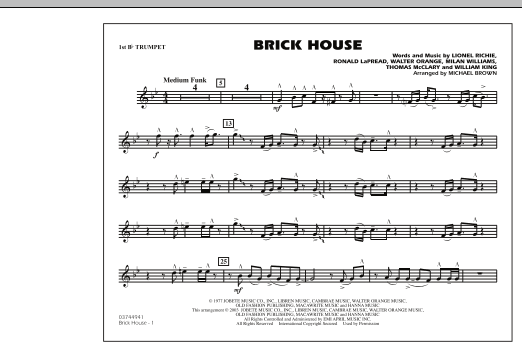 Michael Brown Brick House - 1st Bb Trumpet sheet music notes and chords. Download Printable PDF.