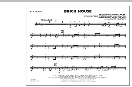 Michael Brown Brick House - 2nd Bb Trumpet sheet music notes and chords. Download Printable PDF.