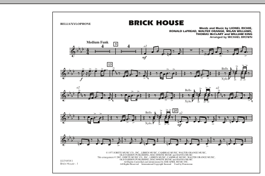 Michael Brown Brick House - Bells/Xylophone sheet music notes and chords. Download Printable PDF.