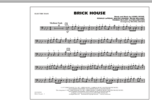 Michael Brown Brick House - Electric Bass sheet music notes and chords. Download Printable PDF.