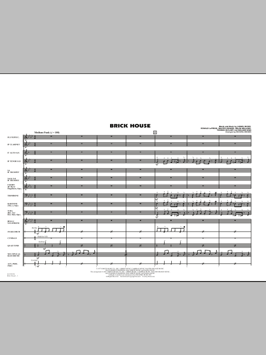 Michael Brown Brick House - Full Score sheet music notes and chords. Download Printable PDF.