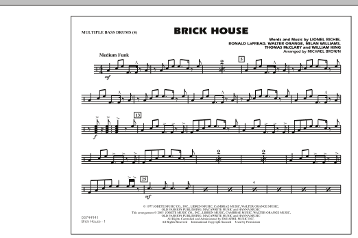 Michael Brown Brick House - Multiple Bass Drums sheet music notes and chords. Download Printable PDF.