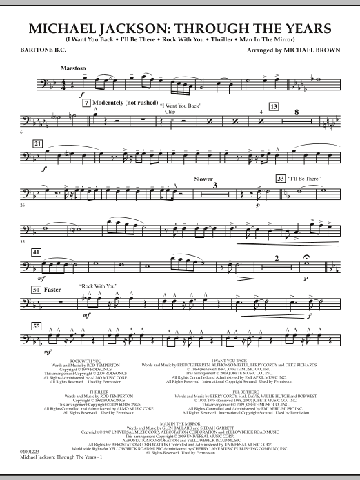 Michael Brown Michael Jackson: Through The Years - Baritone B.C. sheet music notes and chords. Download Printable PDF.