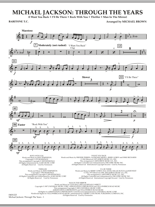 Michael Brown Michael Jackson: Through The Years - Baritone T.C. sheet music notes and chords. Download Printable PDF.