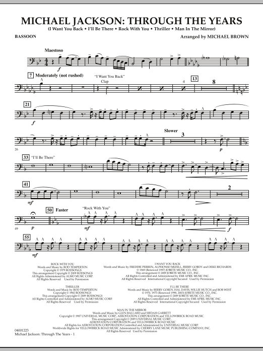 Michael Brown Michael Jackson: Through The Years - Bassoon sheet music notes and chords. Download Printable PDF.