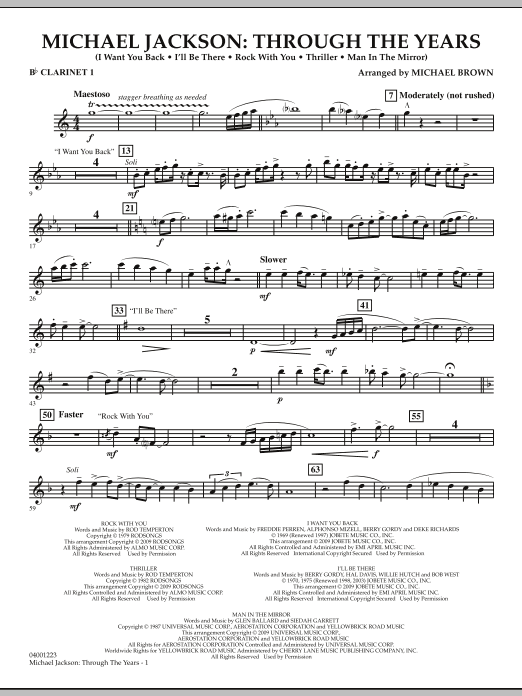 Michael Brown Michael Jackson: Through The Years - Bb Clarinet 1 sheet music notes and chords. Download Printable PDF.