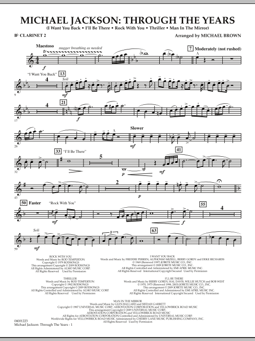 Michael Brown Michael Jackson: Through The Years - Bb Clarinet 2 sheet music notes and chords. Download Printable PDF.