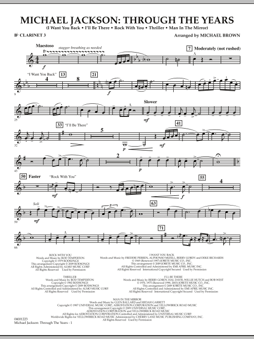 Michael Brown Michael Jackson: Through The Years - Bb Clarinet 3 sheet music notes and chords. Download Printable PDF.