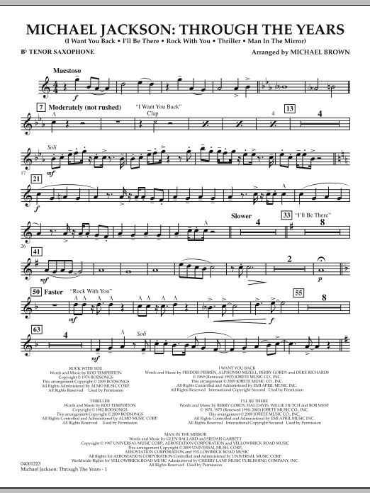 Michael Brown Michael Jackson: Through The Years - Bb Tenor Saxophone sheet music notes and chords. Download Printable PDF.