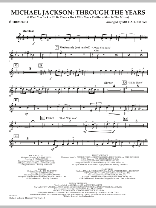 Michael Brown Michael Jackson: Through The Years - Bb Trumpet 2 sheet music notes and chords. Download Printable PDF.
