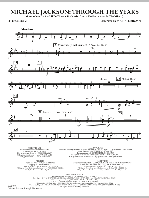 Michael Brown Michael Jackson: Through The Years - Bb Trumpet 3 sheet music notes and chords. Download Printable PDF.
