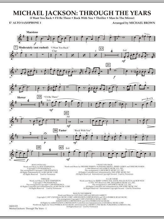 Michael Brown Michael Jackson: Through The Years - Eb Alto Saxophone 1 sheet music notes and chords. Download Printable PDF.