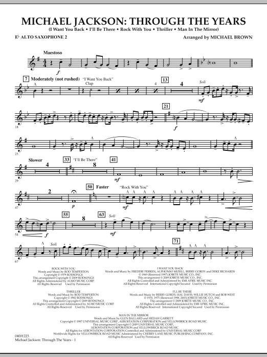Michael Brown Michael Jackson: Through The Years - Eb Alto Saxophone 2 sheet music notes and chords. Download Printable PDF.