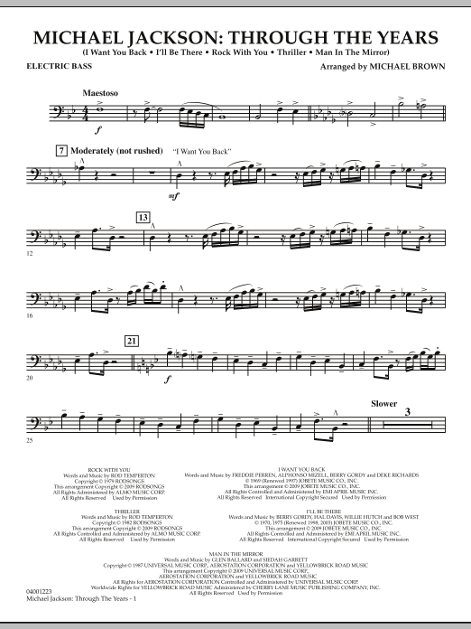 Michael Brown Michael Jackson: Through The Years - Electric Bass sheet music notes and chords. Download Printable PDF.