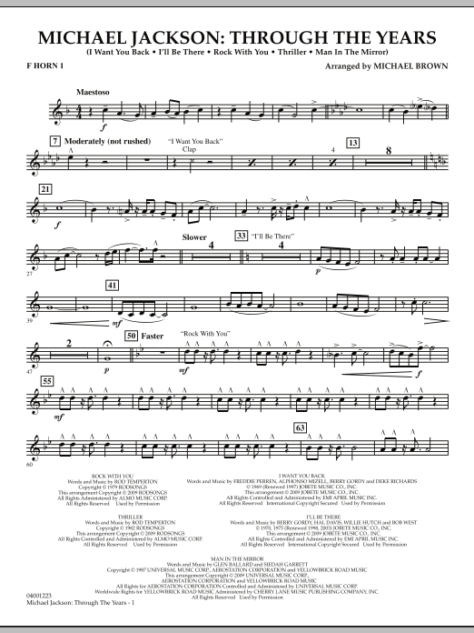 Michael Brown Michael Jackson: Through The Years - F Horn 1 sheet music notes and chords. Download Printable PDF.