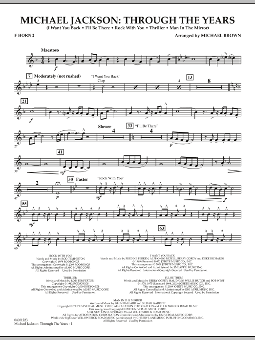 Michael Brown Michael Jackson: Through The Years - F Horn 2 sheet music notes and chords. Download Printable PDF.