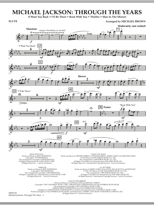 Michael Brown Michael Jackson: Through The Years - Flute sheet music notes and chords. Download Printable PDF.