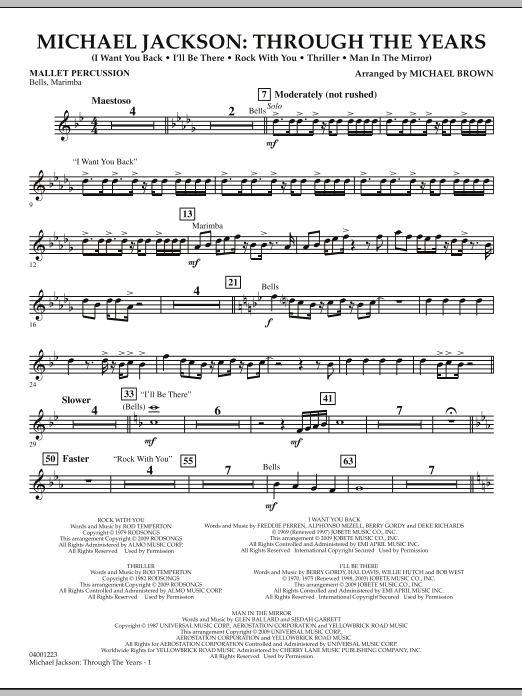 Michael Brown Michael Jackson: Through The Years - Mallet Percussion sheet music notes and chords. Download Printable PDF.
