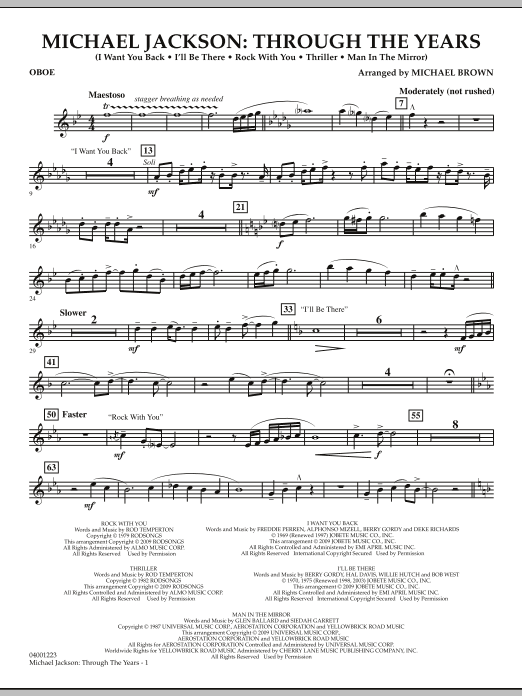 Michael Brown Michael Jackson: Through The Years - Oboe sheet music notes and chords. Download Printable PDF.
