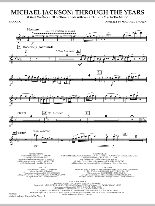 Michael Brown Michael Jackson: Through The Years - Piccolo sheet music notes and chords. Download Printable PDF.