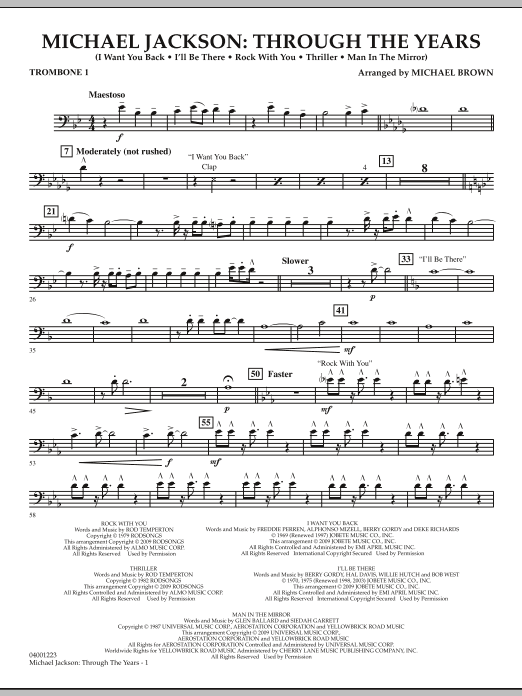 Michael Brown Michael Jackson: Through The Years - Trombone 1 sheet music notes and chords. Download Printable PDF.