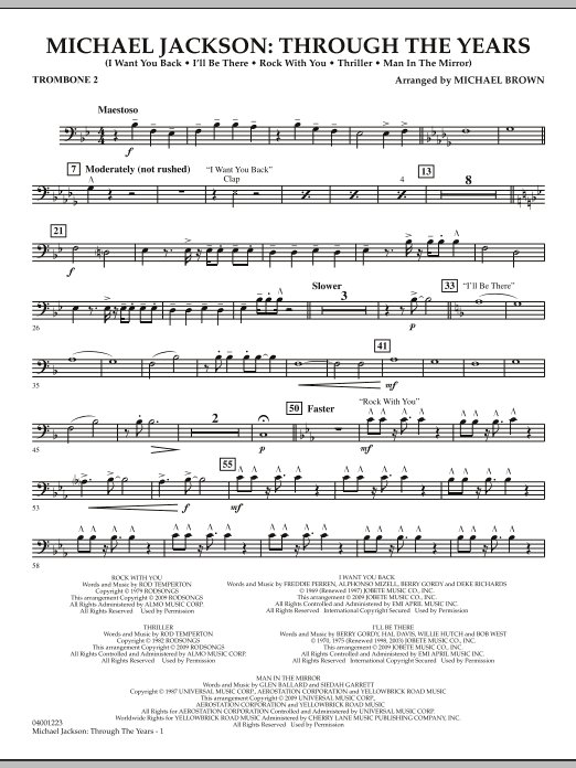 Michael Brown Michael Jackson: Through The Years - Trombone 2 sheet music notes and chords. Download Printable PDF.
