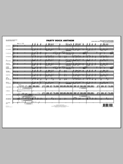 Michael Brown Party Rock Anthem - Full Score sheet music notes printable PDF score