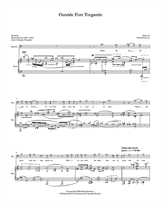 Michael Finnissy Outside Fort Tregantle (for baritone & piano) sheet music notes printable PDF score