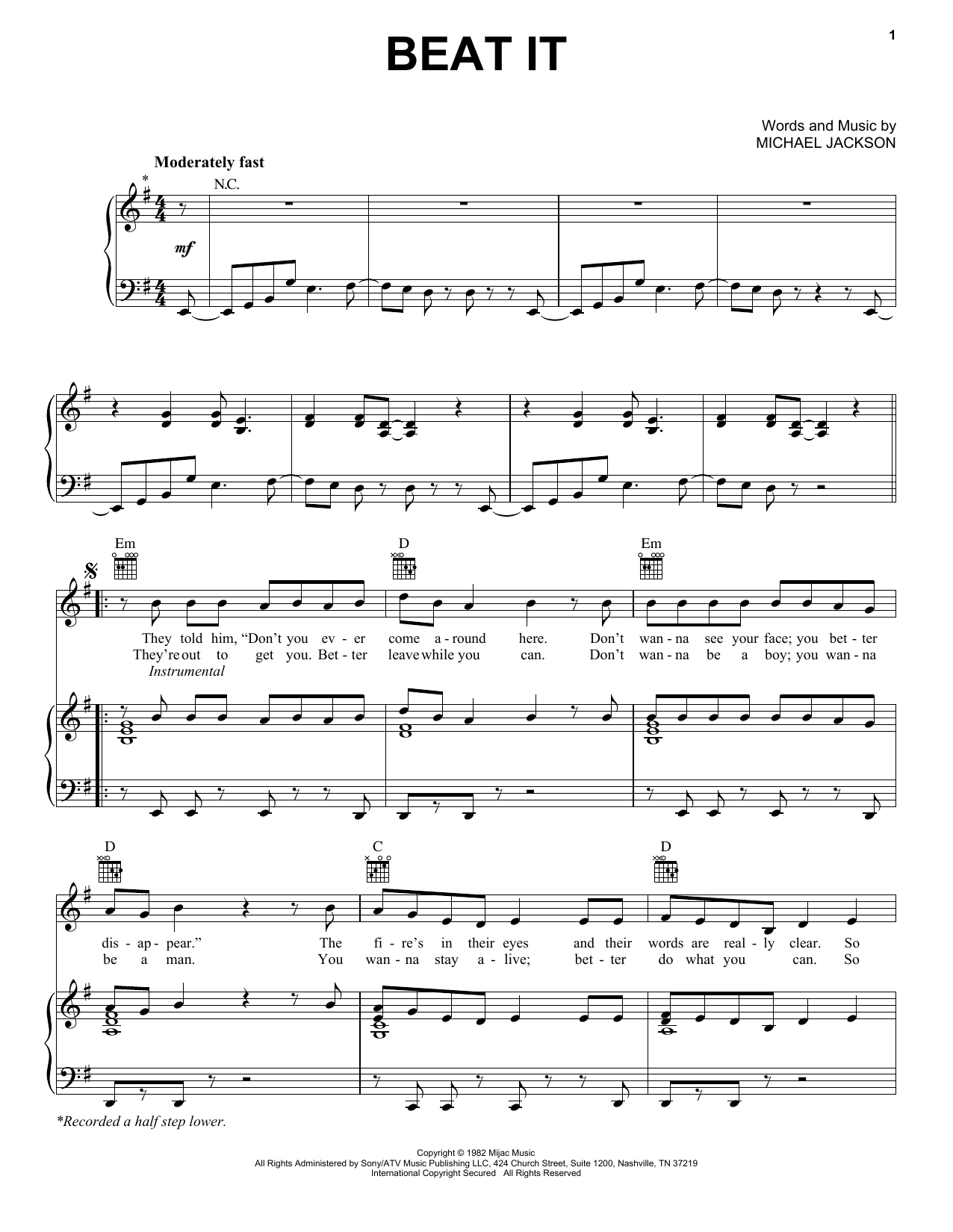Michael Jackson Beat It sheet music notes and chords. Download Printable PDF.