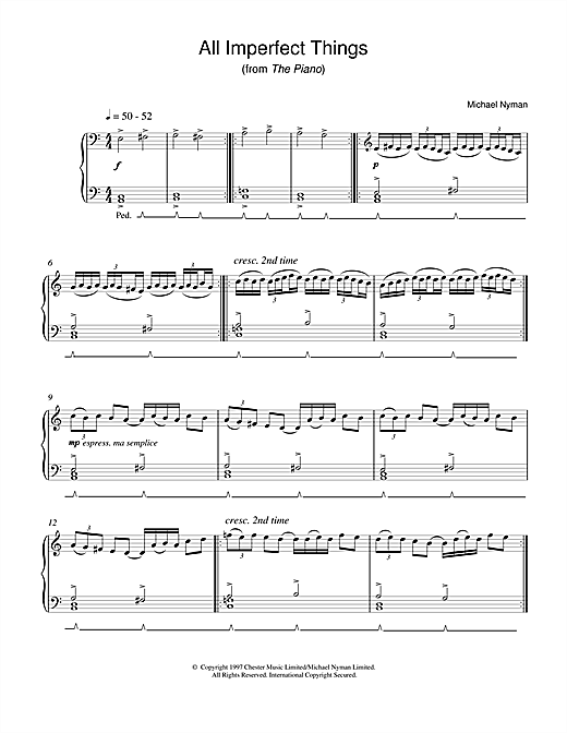 Michael Nyman All Imperfect Things (from The Piano) sheet music notes printable PDF score