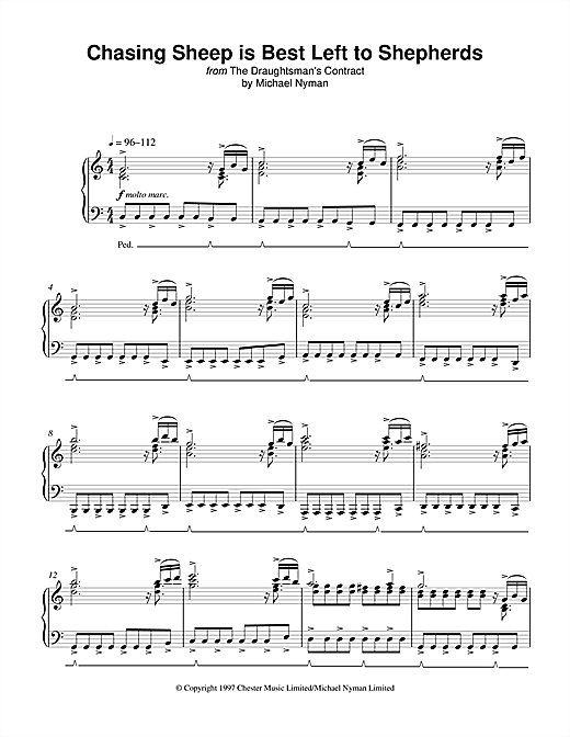 Michael Nyman Chasing Sheep Is Best Left To Shepherds (from The Draughtsman's Contract) sheet music notes printable PDF score