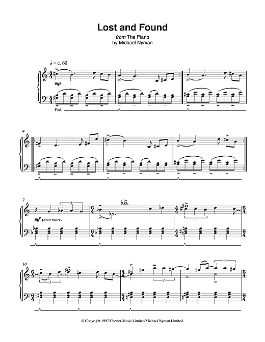 Michael Nyman Lost And Found (from The Piano) sheet music notes printable PDF score