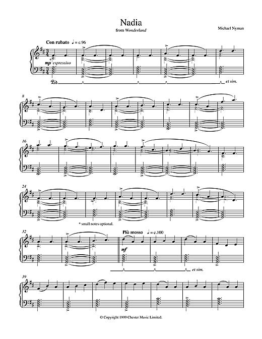 Michael Nyman Nadia (from Wonderland) sheet music notes printable PDF score