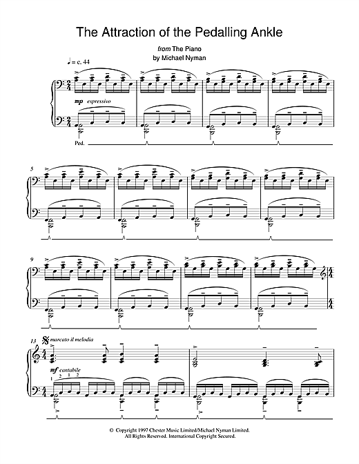 Michael Nyman The Attraction of the Pedalling Ankle (from The Piano) sheet music notes printable PDF score