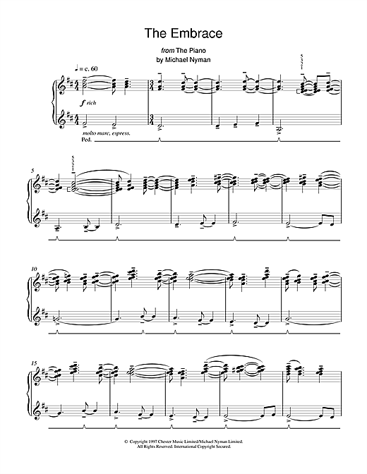 Michael Nyman The Embrace (from The Piano) sheet music notes printable PDF score