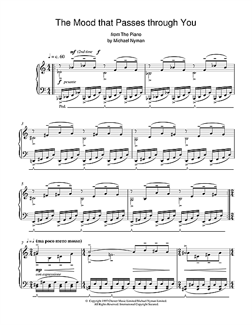 Michael Nyman The Mood That Passes Through You (from The Piano) sheet music notes printable PDF score