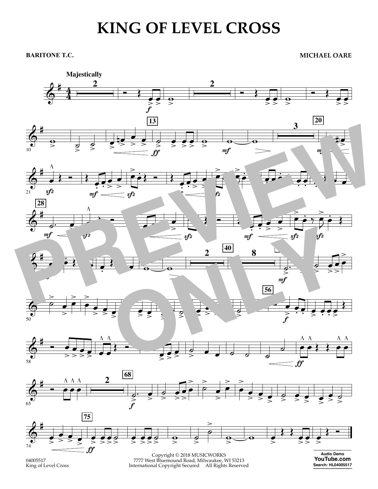 Michael Oare King of Level Cross - Baritone T.C. sheet music notes and chords. Download Printable PDF.