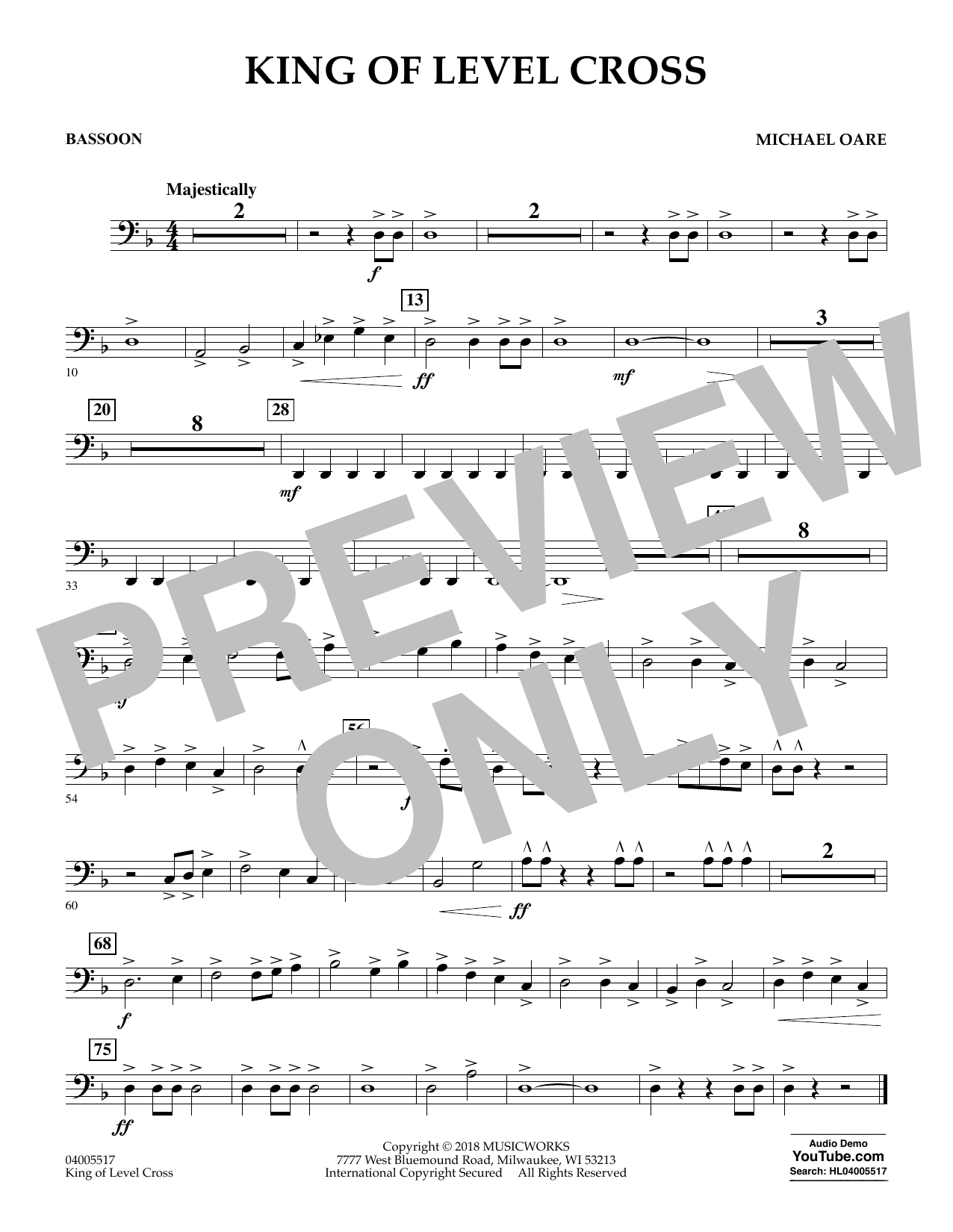 Michael Oare King of Level Cross - Bassoon sheet music notes and chords. Download Printable PDF.