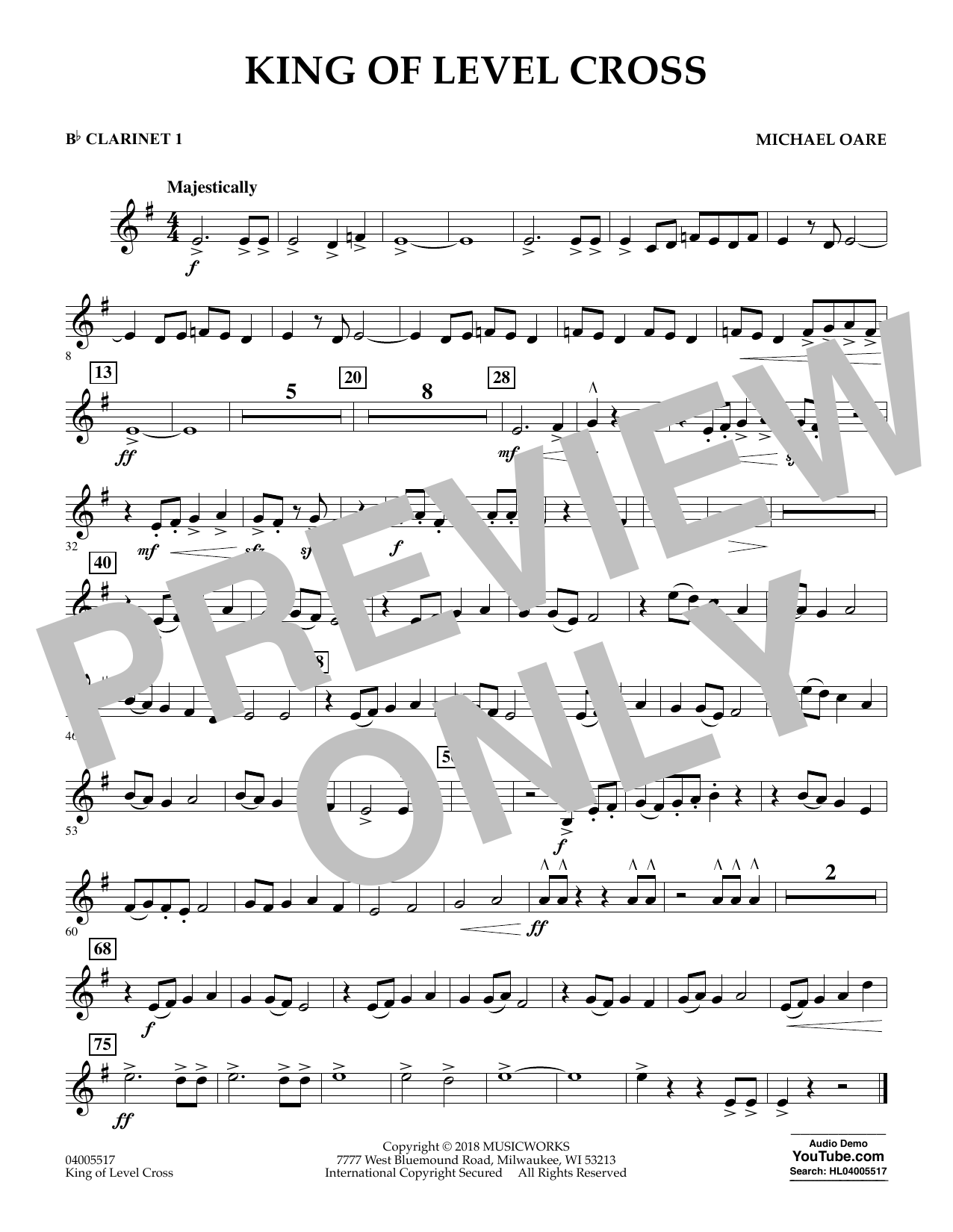 Michael Oare King of Level Cross - Bb Clarinet 1 sheet music notes and chords. Download Printable PDF.