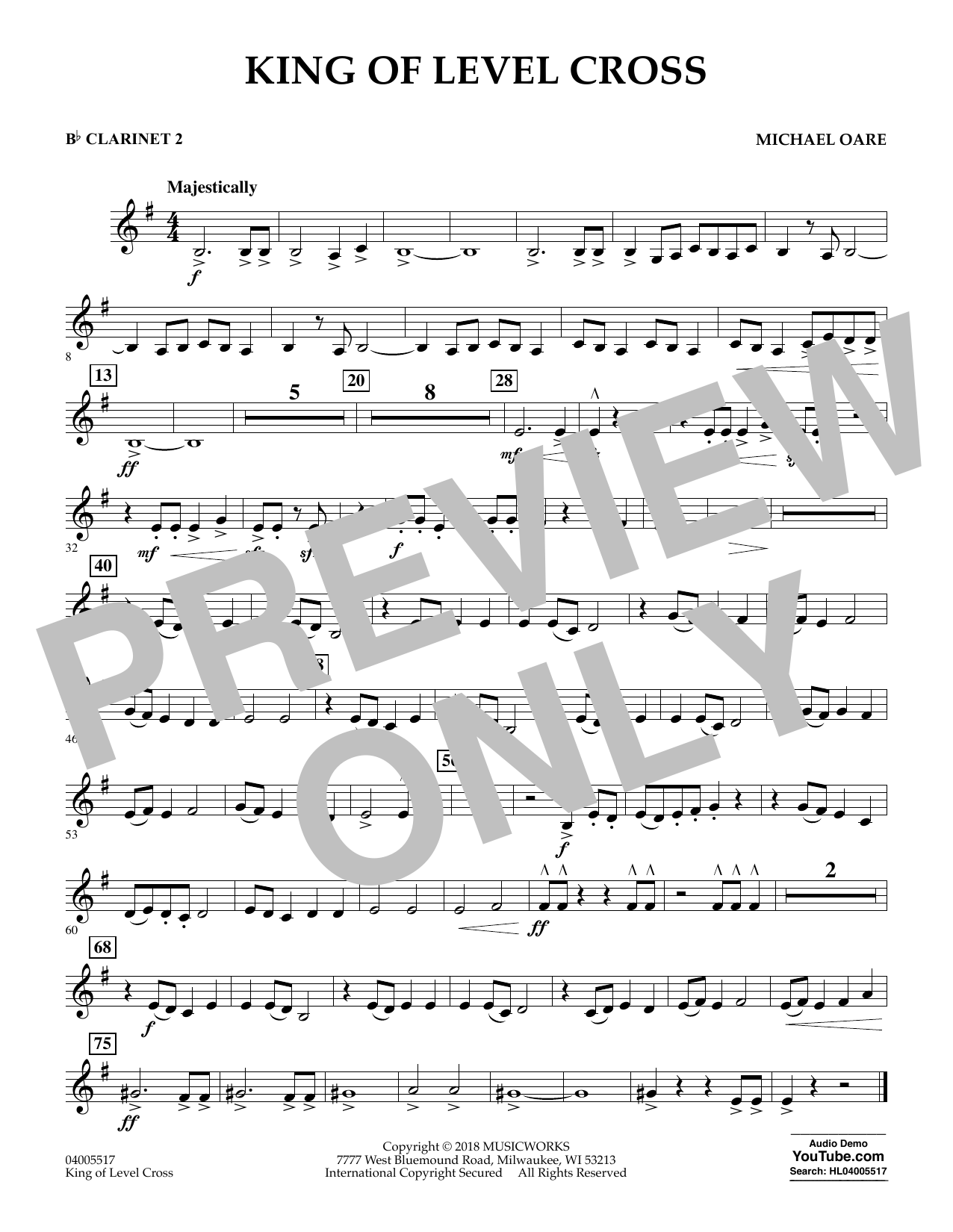 Michael Oare King of Level Cross - Bb Clarinet 2 sheet music notes and chords. Download Printable PDF.