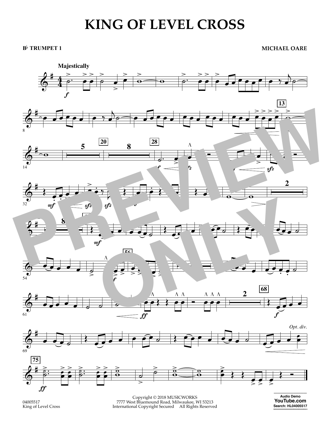 Michael Oare King of Level Cross - Bb Trumpet 1 sheet music notes and chords. Download Printable PDF.