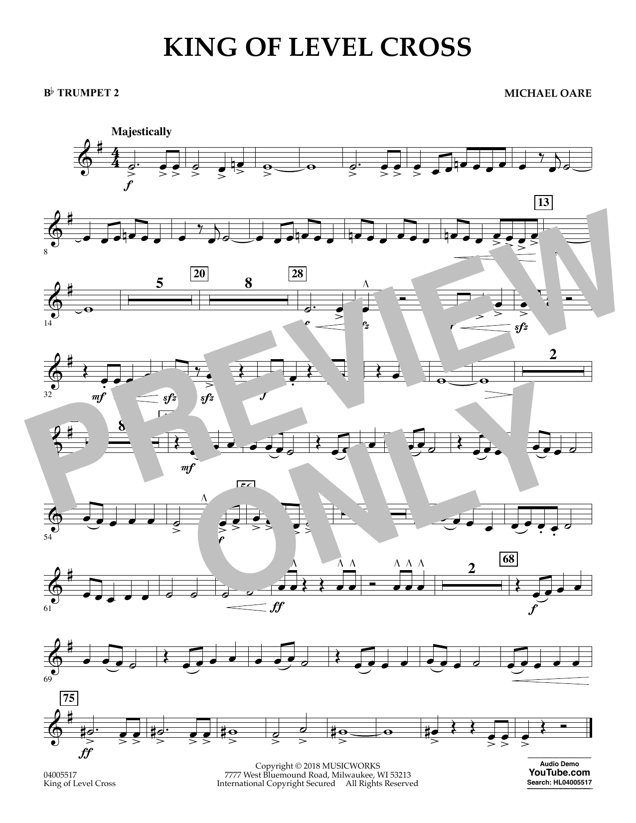 Michael Oare King of Level Cross - Bb Trumpet 2 sheet music notes and chords. Download Printable PDF.